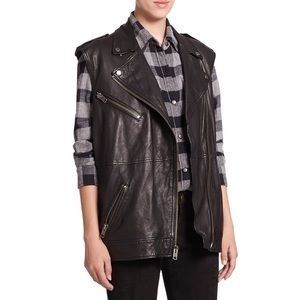 Current/Elliott Moto Infantry Leather Vest Black 0